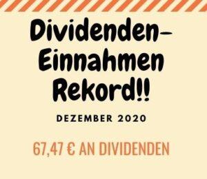 Dividenden-Einnahmen Rekkord Dez